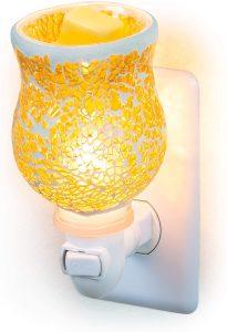 Dawhud Direct Mosaic Glass Plug-in Fragrance Wax Melt Warmer - Crackled Amber