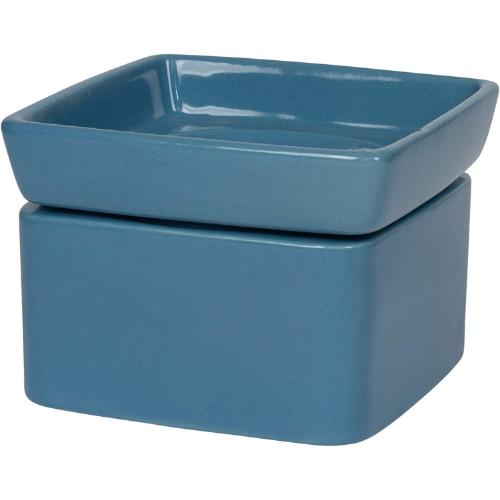 Elanze Designs Blue Ceramic Stoneware Electric 2-in-1 Tart Wax Oil Candle Warmer