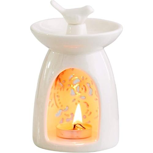 WANYA Ceramic White Bird Tea Light Holder Oil Burner Wax Warmer
