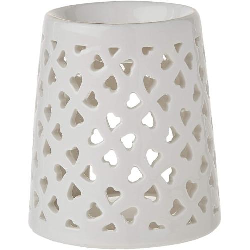 WANYA Ceramic White Heart Tea Light Holder Oil Burner Wax Warmer